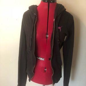 Victoria secret black zip up hoodie size large